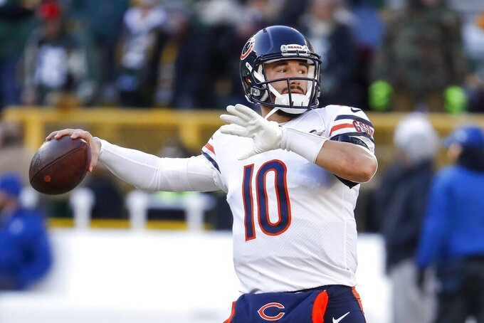 Chicago Bears' Mitchell Trubisky warms up before an NFL football game against the Green Bay Packers Sunday, Dec. 15, 2019, in Green Bay, Wis. (AP Photo/Matt Ludtke)