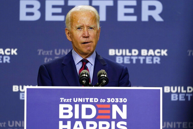 Democratic presidential candidate former Vice President Joe Biden speaks about the economic crisis in Wilmington, Del., Friday Sept. 4, 2020. (AP Photo/Carolyn Kaster)