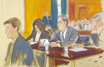 In this courtroom sketch, Michael Cohen, center, reads a statement in federal court in New York, Thursday, Nov. 29, 2018. President Donald Trump's former lawyer made a surprise appearance before a federal judge in New York on Thursday and pleaded guilty to lying to Congress about work he did on an aborted project to build a Trump Tower in Russia. (Elizabeth Williams via AP)