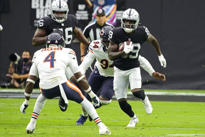 Las Vegas Raiders wide receiver Bryan Edwards (89) runs against the Chicago Bears during the first half of an NFL football game, Sunday, Oct. 10, 2021, in Las Vegas. (AP Photo/Rick Scuteri)
