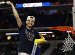 Virginia's Kyle Guy celebrate after defeating Texas Tech 85-77 in the overtime in the championship of the Final Four NCAA college basketball tournament, Monday, April 8, 2019, in Minneapolis. (AP Photo/David J. Phillip)