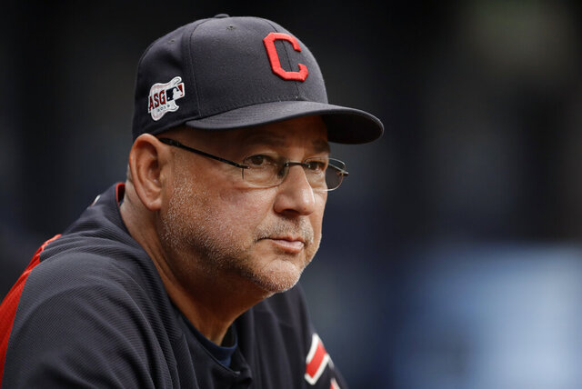 "FILE - In this Sept. 1, 2019, file photo, Cleveland Indians manager Terry Francona watches during the first inning of the team's baseball game against the Tampa Bay Rays in St. Petersburg, Fla. Cleveland's three major professional sports franchises--the Browns, Cavaliers and Indians--are teaming up to fight social injustice. One day after the NBA postponed playoff games _ and other leagues followed suit--amid a player-led boycott to protest the shooting of a Black man by police in Wisconsin, the Cleveland teams announced their alliance to ""develop a sustainable and direct strategy to address social injustice facing the city and all Northeast Ohio communities."" (AP Photo/Chris O'Meara, File)"