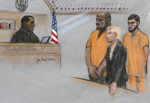 FILE - In this June 19, 2015, file courtroom sketch, David Wright, second from left, is depicted standing before Magistrate Judge Donald Cabell, left, with attorney Jessica Hedges, second from right, and Nicholas Rovinski, right, during a hearing in federal court in Boston. A man convicted of leading a plot to behead blogger Pamela Geller on behalf of the Islamic State group will serve even longer behind bars after he was sentenced for a second time Monday, Sept. 28, 2020 and ordered to 30 years in prison. David Daoud Wright was originally sentenced to 28 years in prison in 2017 but was ordered to be sentenced again by a different Boston federal court judge after an appeals court last year overturned one of his convictions. (Jane Flavell Collins via AP, File)