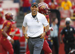 Iowa State head coach Matt Campbell smiles as he runs warm ups before an NCAA college football game against South Dakota State, Saturday, Sept. 1, 2018, in Ames, Iowa. (AP Photo/Matthew Putney)