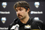 Jacksonville Jaguars quarterback Gardner Minshew speaks with the media following an NFL football game against the Carolina Panthers in Charlotte, N.C., Sunday, Oct. 6, 2019. (AP Photo/Brian Blanco)
