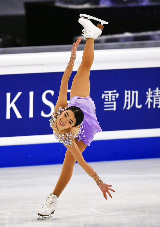 Karen Chen of the USA performs during the Ladies Free Skating at the Figure Skating World Championships in Stockholm, Sweden, Friday, March 26, 2021. (AP Photo/Martin Meissner)