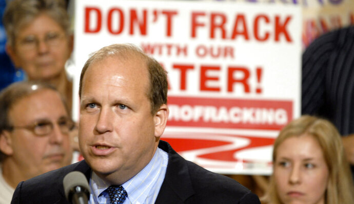 FILE - In a June 7, 2011 file photo, State Sen. Daylin Leach, D-Montgomery, addresses a host of environmental and community groups gathered for a rally in the state capitol against gas drilling in the Marcellus Shale natural gas formation in Harrisburg, Pa. Leach, who was the subject of allegations that he behaved inappropriately toward female employees and campaign aides, announced Saturday, Feb. 24, 2018 that he is ending his stalled congressional bid. He said he would instead remain in the state Senate. (AP Photo/Bradley C. Bower, File)
