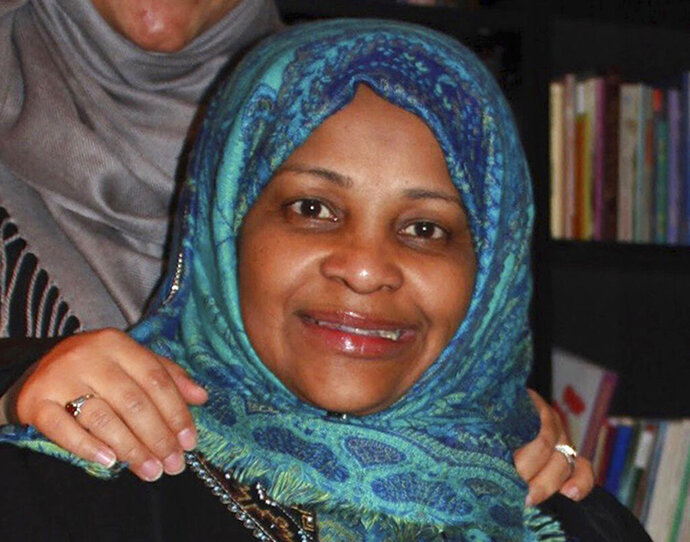 In this image provided by Hossein Hashemi, Marzieh Hashemi, poses for a photo. An attorney with the American-Arab Anti-Discrimination Committee says the Iranian television anchorwoman has been released from a U.S. jail. Abed Ayoub said Marzieh Hashemi was released Wednesday, Jan. 23, 2019, after being detained for more than a week in Washington. (Hossein Hashemi via AP)