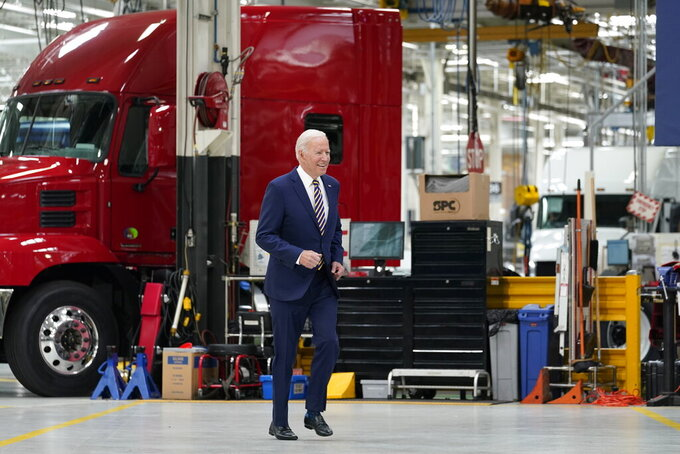 President Joe Biden arrives to speak during a visit to the Lehigh Valley operations facility for Mack Trucks in Macungie, Pa., Wednesday, July 28, 2021. (AP Photo/Susan Walsh)