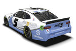 This artists rendering provided by Hendricks Motorsports shows the paint scheme design for the car Kyle Larson will use in his return to iRacing on Wednesday, March 24, 2021, featuring the foundation he's started in his path to redemption. Larson was suspended for almost a full season in 2020 for using a racial slur in the last iracing event he participated in April, 2020.(Hendricks Motorsports via AP)