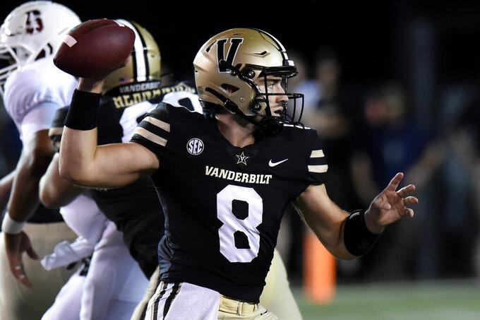 Vanderbilt quarterback Ken Seals looks to pass against Stanford in the first half of an NCAA college football game Saturday, Sept. 18, 2021, in Nashville, Tenn. (AP Photo/Mark Zaleski)