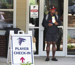 Atlanta Falcons running back Mike Davis is shown after arriving for NFL football training camp in Flowery Branch, Ga., Tuesday, July 27, 2021. (Curtis Compton/Atlanta Journal-Constitution via AP)