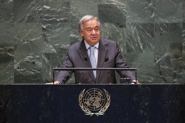 In this photo provided by the United Nations, Secretary-General António Guterres speaks during the 75th session of the United Nations General Assembly, Tuesday, Sept. 22, 2020, at U.N. Headquarters in New York. The U.N.'s first virtual meeting of world leaders started Tuesday with pre-recorded speeches from some of the planet's biggest powers, kept at home by the coronavirus pandemic that will likely be a dominant theme at their video gathering this year. (Eskinder Debebe/UN via AP)
