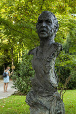 A statue bust of Spain's former monarch, King Juan Carlos I is pictured at the