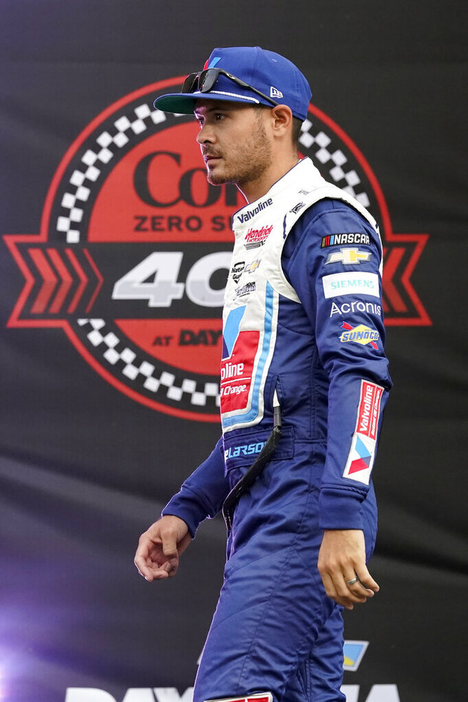 Kyle Larson during driver introductions before the NASCAR Cup Series auto race at Daytona International Speedway, Saturday, Aug. 28, 2021, in Daytona Beach, Fla. (AP Photo/John Raoux)
