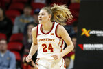 FILE - In this Dec. 11, 2019, file photo, Iowa State guard Ashley Joens runs up court during an NCAA college basketball game against Iowa, in Ames, Iowa. Big 12 leading scorer Ashley Joens of Iowa State mixes toughness with her knack for putting the basketball in the hoop. She grew up playing at home with her sisters, and their father told them no fouls would be called. (AP Photo/Charlie Neibergall, File)