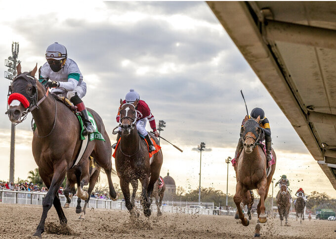 In this image provided by Hodges Photography, Hot Rod Charlie, left, with Joel Rosario aboard, wins the 108th running of the $1,000,000 Grade II Louisiana Derby horse race at the Fair Grounds Race Course, Saturday, March 20, 2021, in New Orleans. (Amanda Hodges Weir/Hodges Photography via AP)