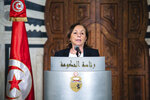 Italy's Interior Minister Luciana Lamorgese delivers a speech in Tunis, Thursday, May 20, 2021. Luciana Lamorgese and European Commissioner for Home Affairs Ylva Johansson are visiting Tunisia in the hope of striking a deal to reduce migrant sea-crossings. (AP Photo/Hassene Dridi)