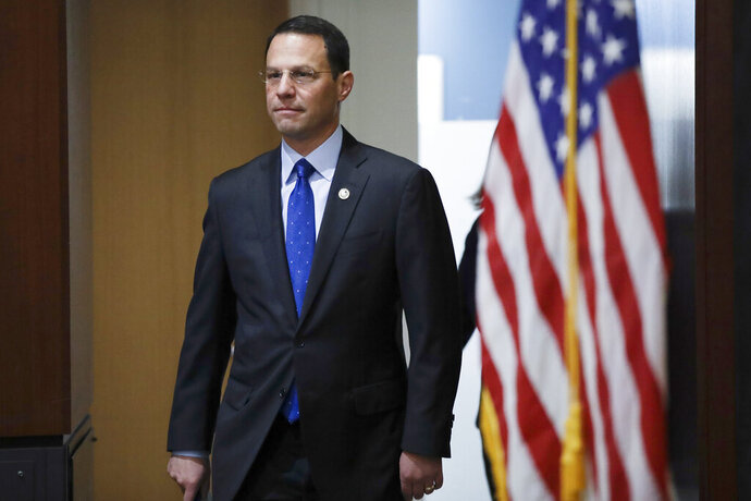 Pennsylvania Attorney General Josh Shapiro arrives at a news conference in Philadelphia, Tuesday, May 14, 2019. Shapiro filed a lawsuit Tuesday accusing the company that makes OxyContin of fueling the opioid epidemic, making it at least the 39th state to make such a claim against Purdue Pharma. (AP Photo/Matt Rourke)
