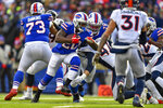 Buffalo Bills running back Frank Gore (20) runs the ball against the Denver Broncos during the second quarter of an NFL football game, Sunday, Nov. 24, 2019, in Orchard Park, N.Y. (AP Photo/Adrian Kraus)