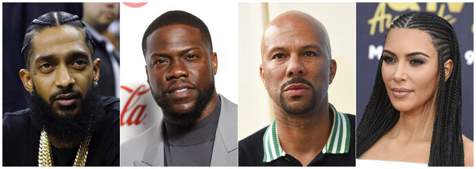 This combination photo shows the late rapper Nipsey Hussle, comedian Kevin Hart, rapper Common and reality star Kim Kardashian West, who are among the high-profile celebrities that are speaking out for prison reform.  (AP Photo)