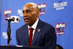 Tony Stubblefield answers questions during press conference where he was introduced as DePaul University's new men's NCAA college basketball head coach, Wednesday, April 7, 2021 in Chicago.  (AP Photo/Shafkat Anowar)