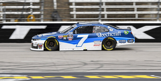 Driver Justin Allgaier races down the front stretch during qualifying for a NASCAR auto race at Texas Motor Speedway, Saturday, March 30, 2019, in Fort Worth, Texas. (AP Photo/Larry Papke)
