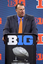 University of Illinois head coach Bret Bielema speaks during an NCAA college football news conference at the Big Ten Conference media days, Thursday, July 22, 2021, at Lucas Oil Stadium in Indianapolis. (AP Photo/Doug McSchooler)