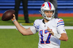 Buffalo Bills quarterback Josh Allen passes during the first half of an NFL football game against the Los Angeles Chargers, Sunday, Nov. 29, 2020, in Orchard Park, N.Y. (AP Photo/Jeffrey T. Barnes)