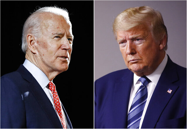 "FILE - In this combination of file photos, former Vice President Joe Biden speaks in Wilmington, Del., on March 12, 2020, left, and President Donald Trump speaks at the White House in Washington on April 5, 2020. Trump has accused his Democratic rival Biden of having connections to the ""radical left"" and has pilloried his relationship with China, his record on criminal justice, his plans for the pandemic and even his son's business dealings. (AP Photo, File)"