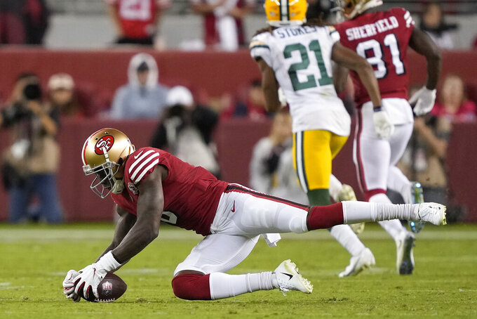 San Francisco 49ers wide receiver Mohamed Sanu Sr. catches a pass against the Green Bay Packers during the second half of an NFL football game in Santa Clara, Calif., Sunday, Sept. 26, 2021. (AP Photo/Tony Avelar)