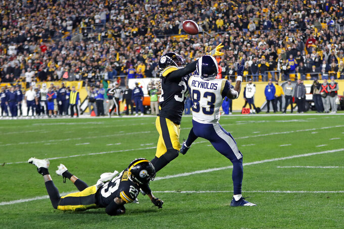 Pittsburgh Steelers strong safety Terrell Edmunds (34) breaks up a pass in the end zone intended for Los Angeles Rams wide receiver Josh Reynolds (83) during the second half of an NFL football game in Pittsburgh, Sunday, Nov. 10, 2019. (AP Photo/Keith Srakocic)