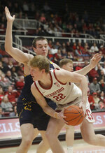 Stanford forward James Keefe (22) is defended by California forward Grant Anticevich during the first half of an NCAA college basketball game in Stanford, Calif., Thursday, Jan. 2, 2020. (AP Photo/Jeff Chiu)