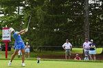 Nasa Hataoka, of Japan, tees off on the 18th hole during the third round of the Marathon LPGA Classic golf tournament at Highland Meadows Golf Club in Sylvania, Ohio, Saturday, July 10, 2021, in Sylvania, Ohio. (AP Photo/David Dermer)