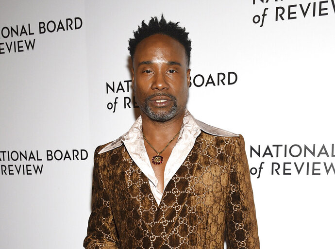 """FILE - Billy Porter attends the National Board of Review Awards gala in New York on Jan. 8, 2020. Porter narrates """"EQUAL,"""" a new docuseries on HBO Max that traces the history of the gay rights movement through the Stonewall uprising in 1969. (Photo by Evan Agostini/Invision/AP, File)"""