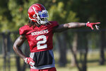 Oklahoma wide receiver CeeDee Lamb is pictured during an NCAA college football practice in Norman, Okla., Monday, Aug. 5, 2019. (AP Photo/Sue Ogrocki)