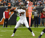 FILE - In this Sept. 30, 2018, file photo, Tampa Bay Buccaneers quarterback Jameis Winston (3) looks to pass during the second half of an NFL football game against the Chicago Bears, in Chicago. Winston will get his first start of the season for the Buccaneers. Winston served a three-game suspension for violating the league's personal conduct policy and came off the bench in Tampa Bay's last game. After a bye week, the No. 1 job again belongs to Winston. (AP Photo/David Banks, File)