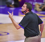 LSU coach Will Wade gestures during the team's NCAA college basketball game against Georgia on Wednesday, Jan. 6, 2021, in Baton Rouge, La. (Hilary Scheinuk/The Advocate via AP)