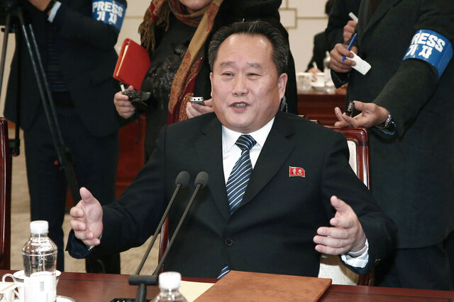 FILE - In this Jan. 9, 2018, file photo, head of North Korean delegation Ri Son Gwon speaks during a meeting with South Korea at the Panmunjom in the Demilitarized Zone in Paju, South Korea. North Korea on Friday, Jan. 24, 2020, confirmed that it has named the former senior army officer with little experience in dealings with the United States as its new foreign minister in a possible indication that it'll take a harder line on Washington in stalled nuclear negotiations. (Korea Pool via AP, File)