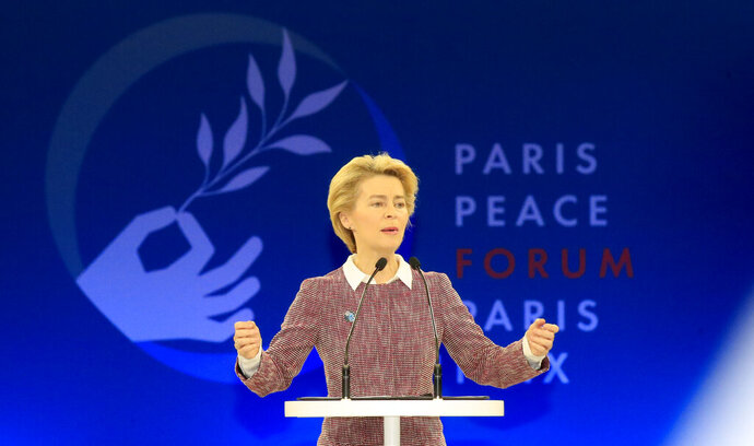 European Commission president Ursula von der Leyen delivers her speech at the start of the Paris Peace Forum Tuesday, Nov. 12, 2019 in Paris. (AP Photo/Michel Euler, Pool)