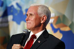 Vice President Mike Pence discusses U.S. China relations Thursday, Oct. 24, 2019, at the Wilson Center's inaugural Frederic V. Malek Public Service Leadership Lecture, in Washington. (AP Photo/Jacquelyn Martin)