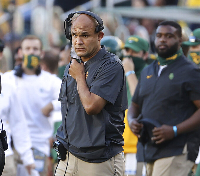 Baylor head coach Dave Aranda looks to an official in the second half of an NCAA college football game against TCU in Waco, Texas, Saturday, Oct. 31, 2020. (Jerry Larson/Waco Tribune-Herald via AP)