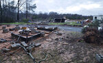 This photo provided by Bossier Parish Sheriff's Office shows damage from Friday nights severe weather in Bossier Parish, La., on Saturday, Jan. 11, 2020.  Several people were killed in Louisiana, including an elderly couple found near their trailer home Saturday by firefighters.  (Lt. Bill Davis/Bossier Parish Sheriff's Office via AP)