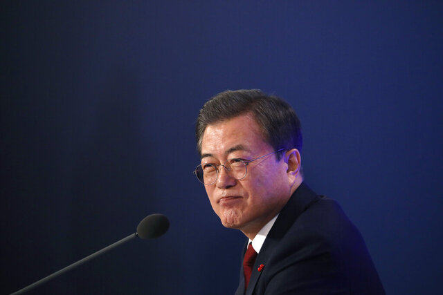 South Korean President Moon Jae-in speaks during his New Year press conference at the presidential Blue House in Seoul, South Korea, Tuesday, Jan. 14, 2020. (Kim Hong-Ji/Pool Photo via AP)