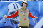 Kansas City Chiefs quarterback Patrick Mahomes warms up before an NFL football game against the Tennessee Titans Sunday, Nov. 10, 2019, in Nashville, Tenn. (AP Photo/Mark Zaleski)