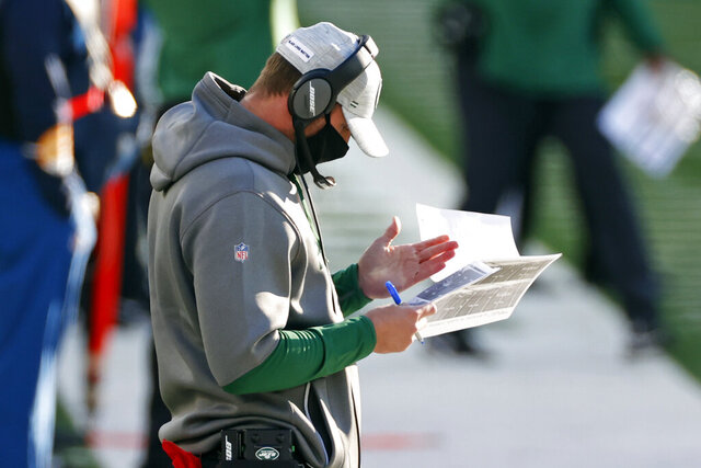 New York Jets head coach Adam Gase reacts during an NFL football game against the Las Vegas Raiders, Sunday, Dec. 6, 2020, in East Rutherford, N.J. Adam Gase recognizes he has failed. The New York Jets coach is a realist and he's well aware he has not lived up to the hopes and expectations of Christopher Johnson — or a frustrated fanbase.(AP Photo/Adam Hunger)
