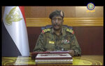 FILE - In this June 4, 2019 file frame grab from video provided by Sudan TV, Lieutenant General Abdel-Fattah Burhan, then head of the Sudanese Transitional Military Council, makes a broadcast announcement in Khartoum, Sudan. Human Rights Watch, HRW, a leading human rights group, says the deadly crackdown in Sudan against pro-democracy protesters in June may have amounted to a crime against humanity. In a 59-page report released Monday, Nov. 18, 2019, HRW said Sudan's military rulers at the time planned the violent dispersal of a major sit-in in the capital, Khartoum. (Sudan TV via AP, File)