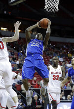 Air Force's Pervis Louder shoots during the first half of the team's NCAA college basketball game against Fresno State in the Mountain West Conference men's tournament Thursday, March 14, 2019, in Las Vegas. (AP Photo/Isaac Brekken)