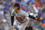 Detroit Tigers pitcher Casey Mize throws against a Kansas City Royals batter during the third inning of a baseball game at Kauffman Stadium in Kansas City, Mo., Saturday, July 24, 2021. (AP Photo/Colin E. Braley)