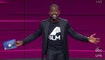 In this video grab captured on Sept. 20, 2020, courtesy of the Academy of Television Arts & Sciences and ABC Entertainment, Sterling K. Brown presents the award for outstanding drama series during the 72nd Emmy Awards broadcast. (The Television Academy and ABC Entertainment via AP)